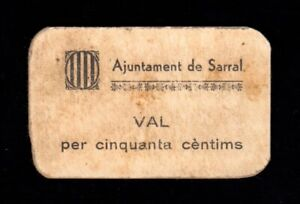 F.C. SARRAL (TARRAGONA) , 50 CÉNTIMS , 1ª EMISIÓN , EBC- .