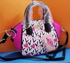 Betsey Johnson QUINN Black & White Mini Satchel Crossbody Bag Love Pink Hearts