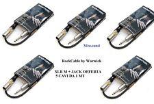 ROCKCABLE CAVO SPEAKER CASSE MONITOR CANNON XLR M + JACK  OFFERTA 5 CAVI DA 1 MT