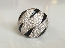 Cartier 18K WG Pave Diamond Onyx Panthere Collection Ring