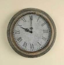 Vintage Industrial Farmhouse Style Galvanized Wall Clock Grey Roman Numerals New