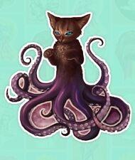 """Octopus Cat Owns You Creepy Weird Tentacles Believe Diecut 3"""" Cool Skate Sticker"""