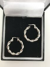 9ct White Gold Twisted Round Hoop Earrings Snap Closure