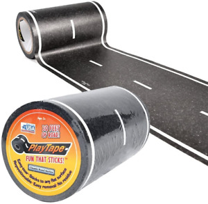 """PlayTape Black Road 30x4"""" Road Car Tape Great for Kids Sticker Roll for Cars"""