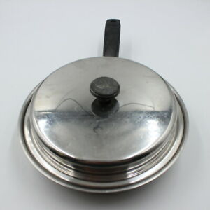 "Vintage Lifetime Stainless Steel Cookware 9"" Frying Pan Skillet with Lid T304"