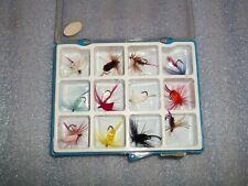 12 Vintage Fishing Flies in blue plastic box - Lot A