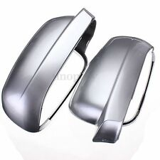 Pair Side Silver Door Wing Mirror Cover Housing Casing Cap For VW Golf Mk4 Bora