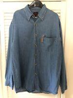Retro Official Guinness Classics Denim Style Blue Shirt Size M Medium