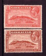 GIBRALTAR....  1931  1d, 1½d mint,  perf 13½x14, Sg 110e,111a
