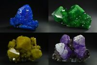 Alunite chalcanthite crystals on matrix from Poland purple green yellow blue