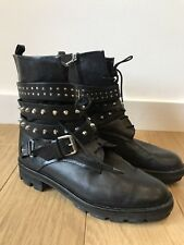 Gorgeous Zara Black Leather Biker Studded Boots UK 8 41 Worn Twice