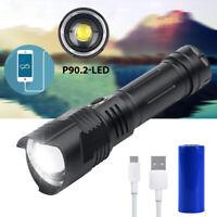 900000LM XHP90 Taschenlampe LED Taktisches Arbeitslicht wiederaufladbare 26650