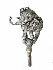 Good Luck Elephant Decorative Textured Wall Mount Pewter Hook Holder Made Usa