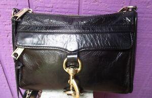 REBECCA MINKOFF Mini Mac Crossbody Black Leather Bag Purse Chain