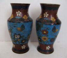 2500* petite paire de vase cloisonné chine décor papillon ancienne 19eme siecle