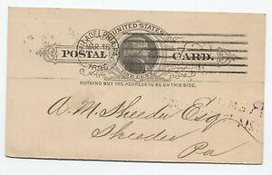 1896 Philadelphia PA postal card American bar machine cancel coal shipper [S.489