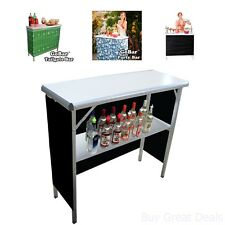 Portable High Top Bar w/ 3 Skirts Pool Party Tailgate Hosting Outdoor Indoor Fun