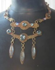 outstanding 1950s French TOOLED BRONZE JEWEL NECKLACE tiered icy blue rhinestone