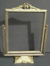 Rare Vintage Silver Gold Textured Finish Toggle Picture Frame Floral Top 8 x 10