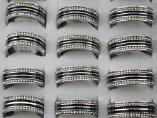 Jewelry Lots 27 stainless steel Black Enamel Rhinestone Top Quality Wedding ring