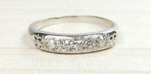 Antique Art Deco Vintage Diamond Wedding Band Palladium Ring Sz 6.2 UK-M EGL USA
