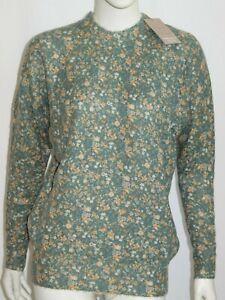 Pullover mohair lana donna girocollo verde a fiori Made in Italy Tg M