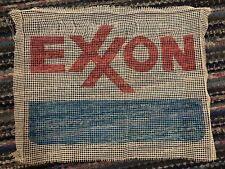 Vtg Latch Hook Rug 23x30 Canvas Exxon Oil & Gas Sign
