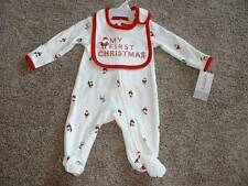 Carter's First Christmas Sleeper Bib Set Size NB Newborn NWT NEW Baby Girls Boys