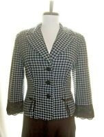 UNGER by Kay Unger blue black houndstooth wool blazer lace trim 12
