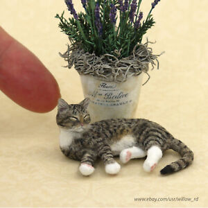Dollhouse Miniature Dozing Tabby Cat Sculpture by Kerri Pajutee OOAK