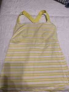 Women'sLululemon Yellow & White Striped Racerback Tank Top 8