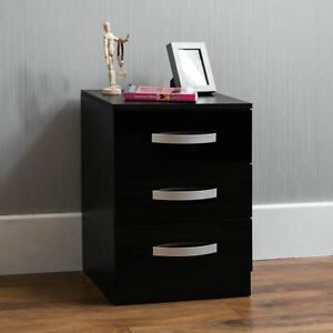 Hulio 3 Drawer Chest High Gloss Wood Bedroom Storage Furniture Black