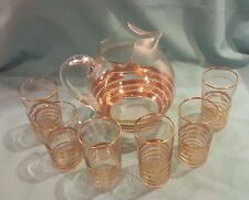 Vintage Art Deco Glass & Gold Ball Pitcher and Matching Glass Set w/Gold Rings