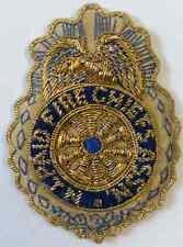 """New Jersey PAID Fire Chiefs Assn. 3"""" Bullion Emblem Patch Metallic Silk & Satin"""