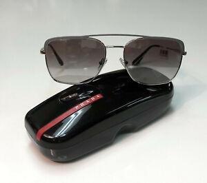 PRADA PR53VS Gunmetal Silver /Gradient Grey Mirror 3294S1 Aviator Sunglasses NEW