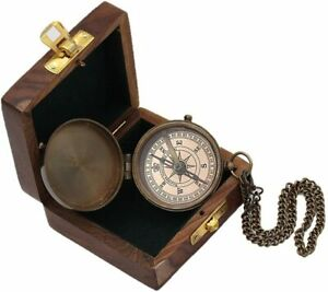 Scouts Engravable Brass Pocket Compass with Wood Case Christmas Day Gift