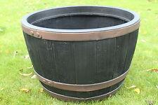 Set of 2 Stewart Plastic Garden Outdoor Oak Effect Half Barrels - 61 x 40cms