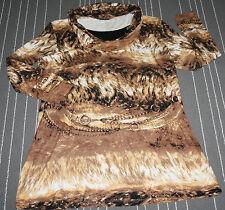 Y74° GERRY WEBER Braunes Ausgefallenes Damen Langarm Long Shirt Muster Gr. 44/46