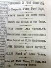 1862 CIVIL WAR hdlne newspaper ULYSSES S GRANT CAPTURES FORT DONELSON Tennessee