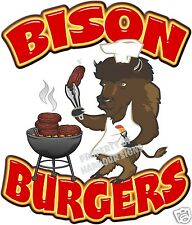 "Bison Burgers Decal 14"" Buffalo Hamburger Food Truck  Concession Vinyl Sticker"