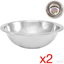 2 X MIXING BOWL STAINLESS STEEL STIR SALAD BOWLS VEGETABLES COOKING KITCHEN