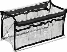 Foldable 8 Pocket See-Through Storage Container w/ Metal Stand NIB