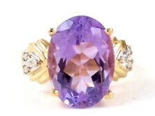 14k Yellow Gold Oval Amethyst and Round Diamond Right Hand Ring 2.15ct 7.8g