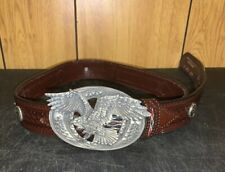 "Wrangler Brown Leather  Bald Eagle Buckle 41"" Belt"