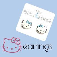 Hello Kitty Inspired Stud Earrings Plastic Posts Handmade Blue Bow