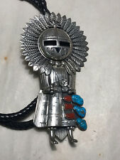 Vintage Navajo LARGE Signed AC Turquoise & Coral Sterling Kachina Bolo