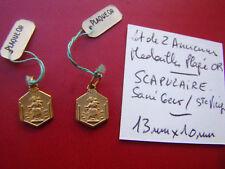 lot de 2 medaille SCAPULAIRE :  Sainte Vierge / Sacré Coeur de JESUS  plaqué OR