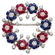 Vivid Blue Sapphire, Shiny Pink Ruby & White CZ Flower Circle Impressive Brooch