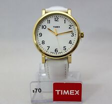 New TIMEX T2P1709J Golden Tone Big Numbers Dial White Leather Band Women Watch