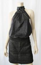 WILLI SMITH Plaid Wool Metalic Cocktail Mini Skirt